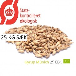 Gyrup Munich Malt økologisk, ebc 20 - 25, pris pr. 25 kg sække